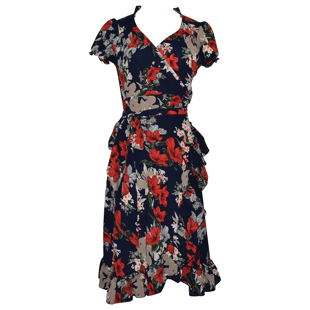 Dita Wrap Dress - Red Floral on Navy