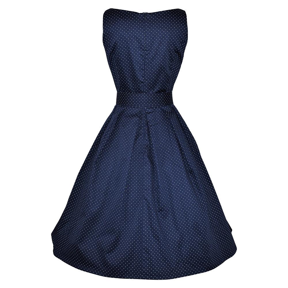 Vintage style navy spot elegant boatneck dress back view