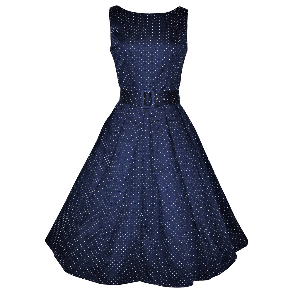 Vintage style navy spot elegant boatneck dress