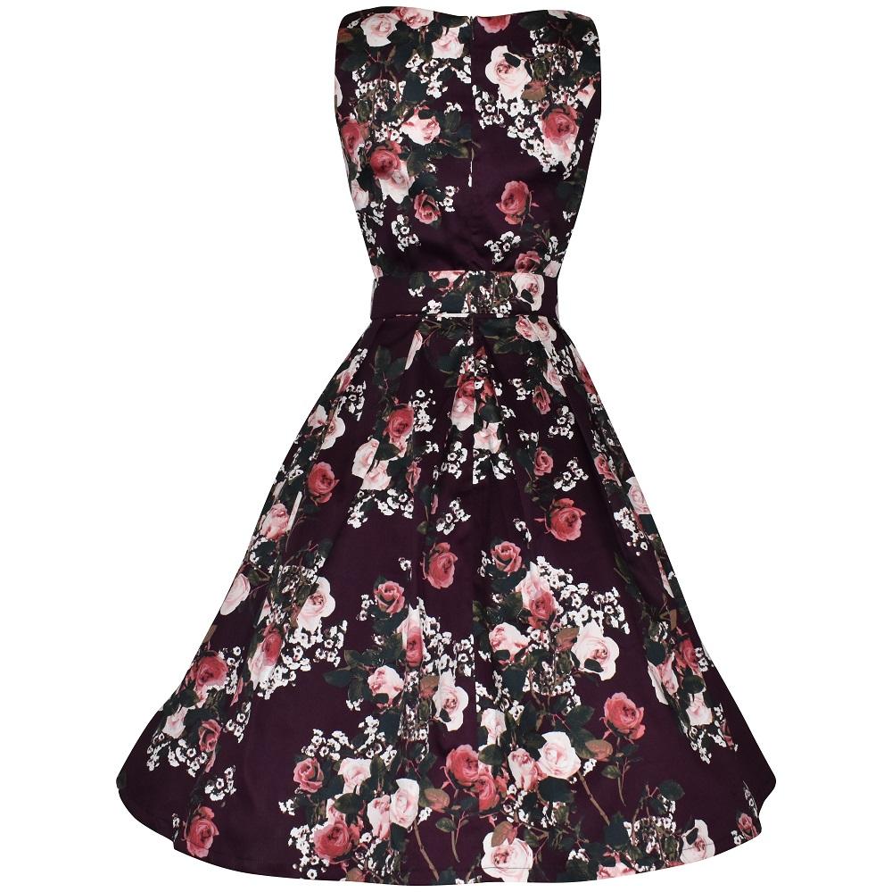 Vintage style plum floral elegant boatneck dress back view