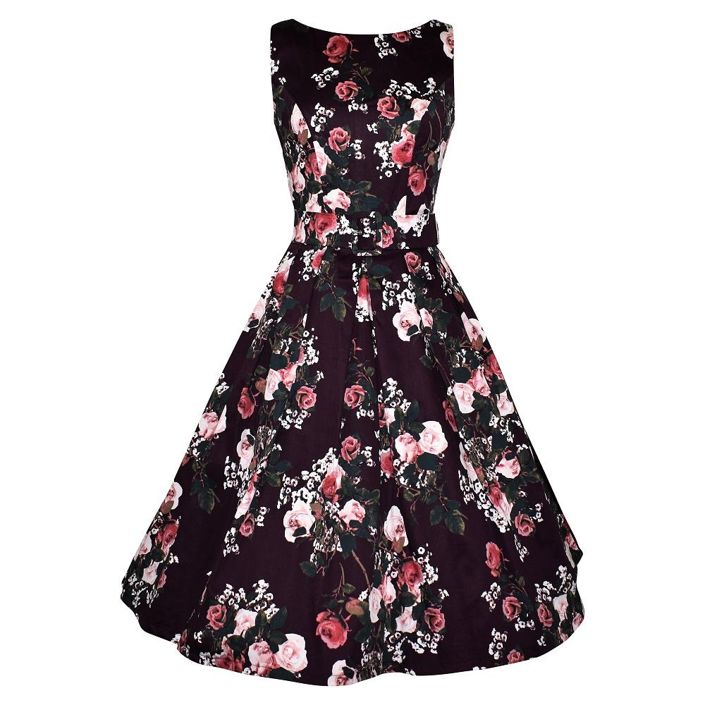 Vintage style plum floral elegant boatneck dress