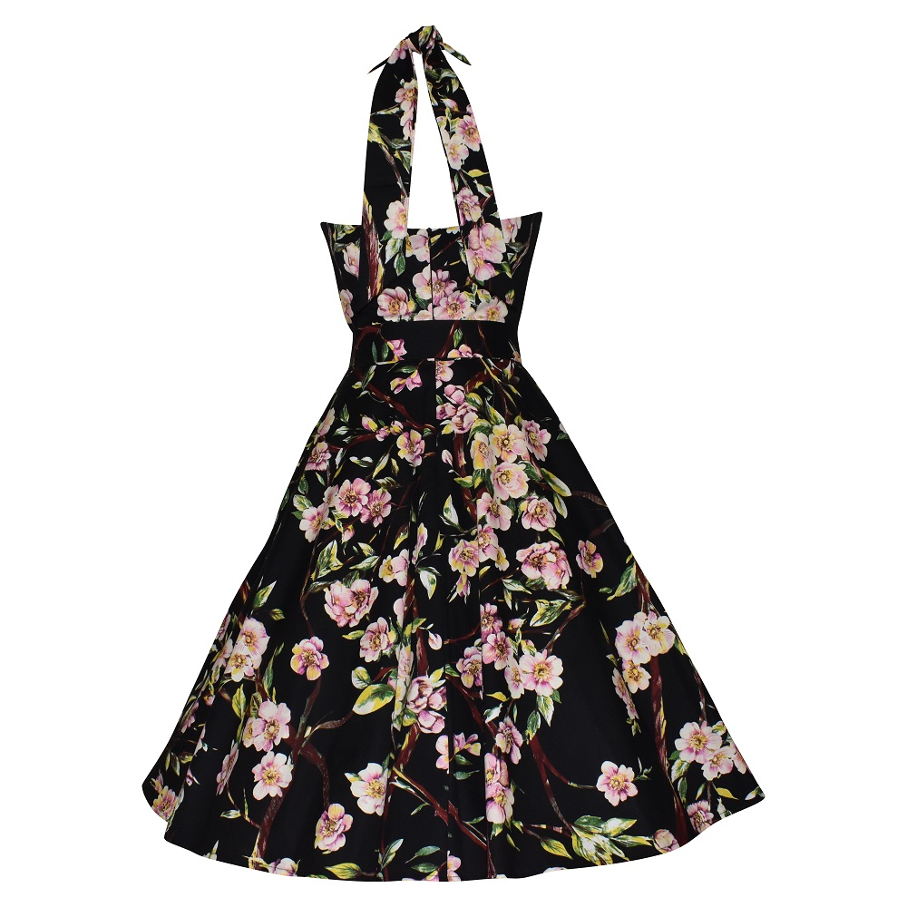 Vintage style black floral halter neck swing dress back view