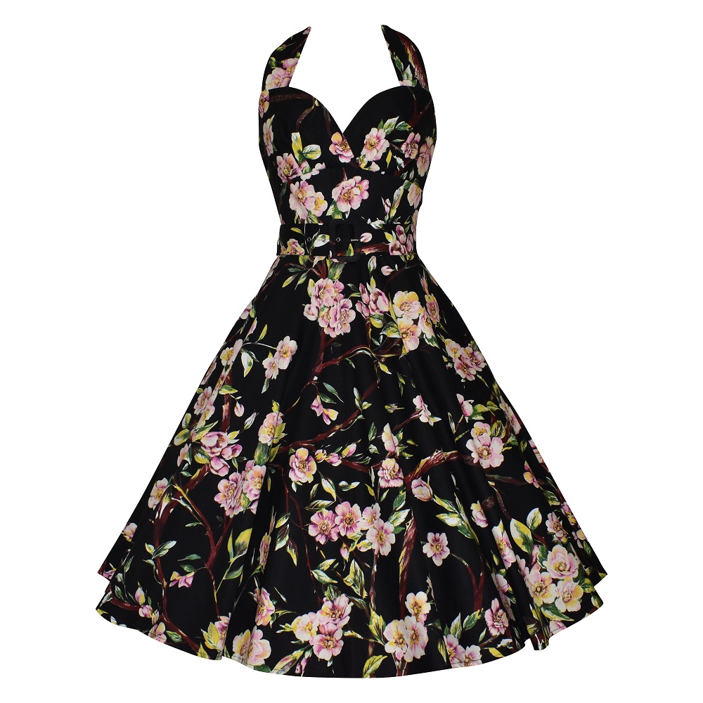 Vintage style black floral halter neck swing dress