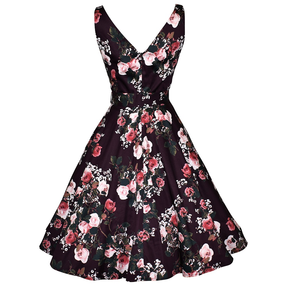 Vintage style plum floral swing dress back view