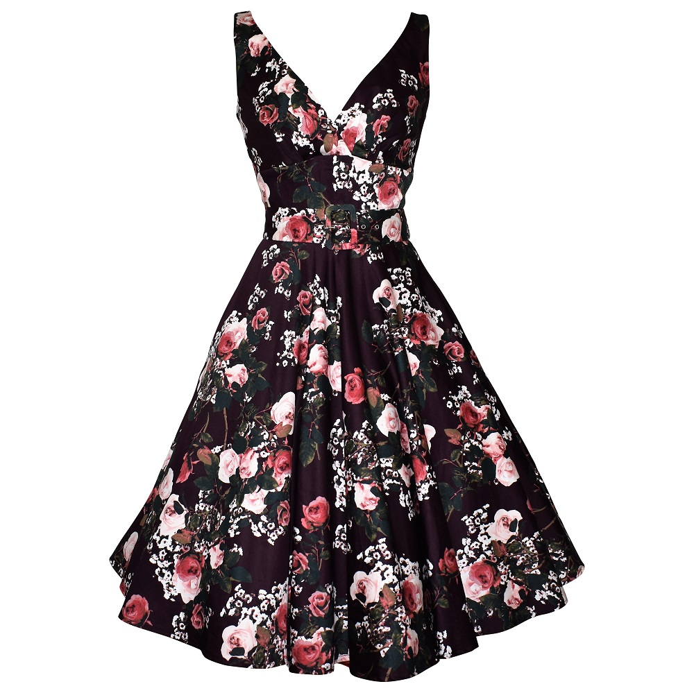 74e8317c567 Vintage style plum floral swing dress