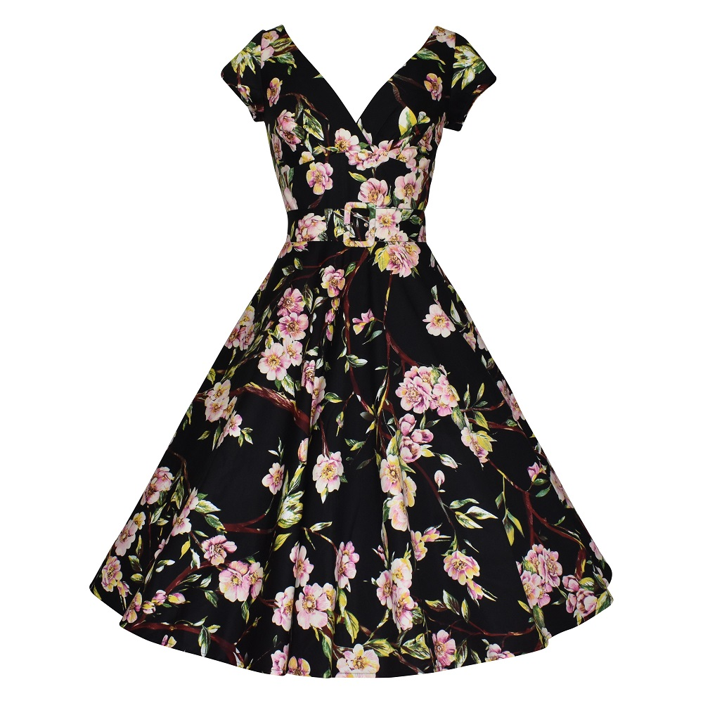 Vintage style black floral swing dress with cap sleeves