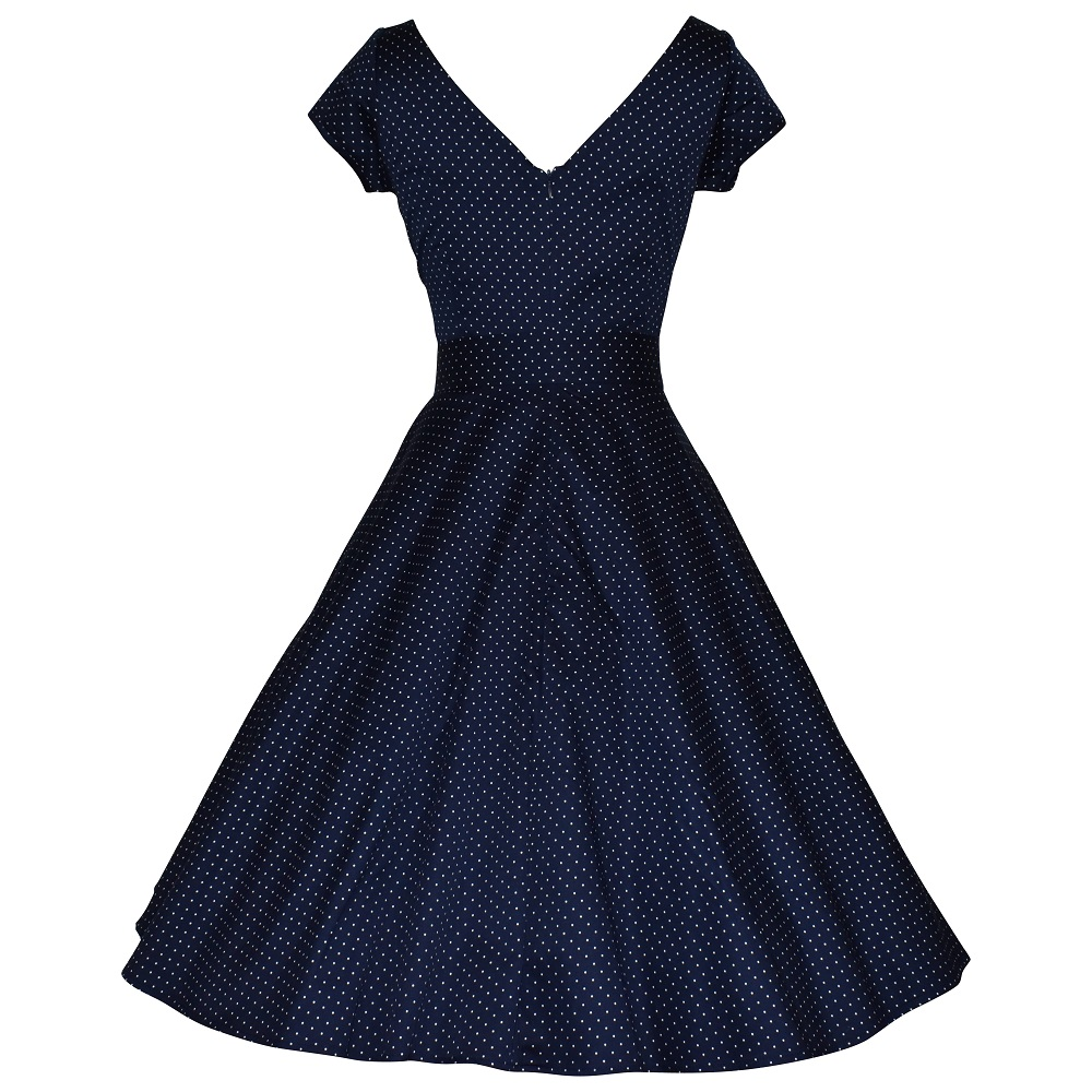Vintage style navy dot swing dress with cap sleeves back view