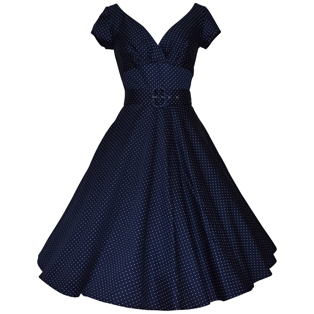 Vintage style navy dot swing dress with cap sleeves