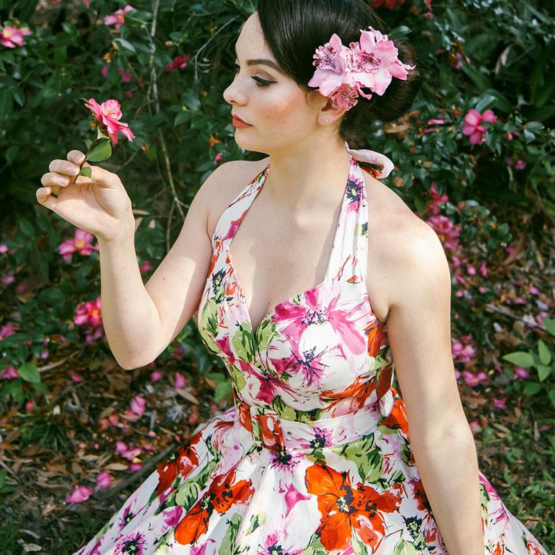 Floral vintage halter dress