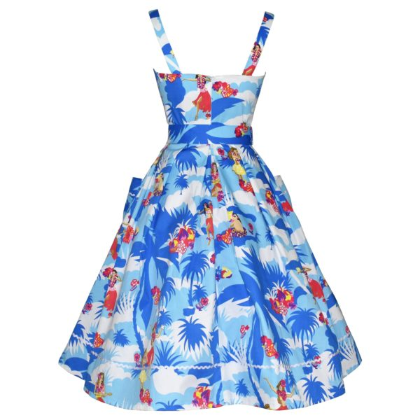 Vintage style blue sundress with pockets back view