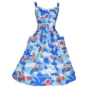 Vintage style blue sun dress with pockets