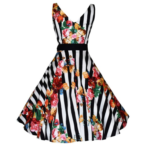 Vintage style striped floral swing dress back view