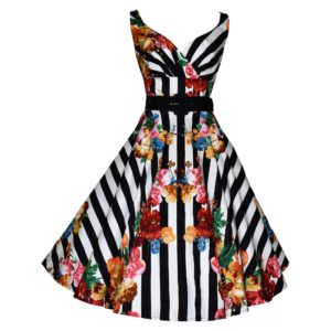 Vintage style striped floral swing dress
