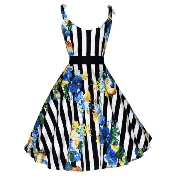 Vintage style striped floral swing dress with ties on shoulder straps back view