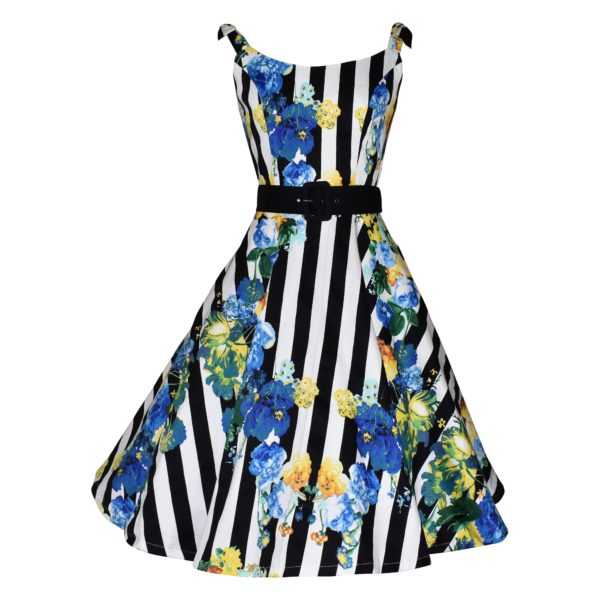 Vintage style striped floral swing dress with ties on shoulder straps