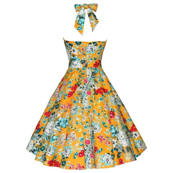 Vintage style yellow floral halter neck swing dress back view