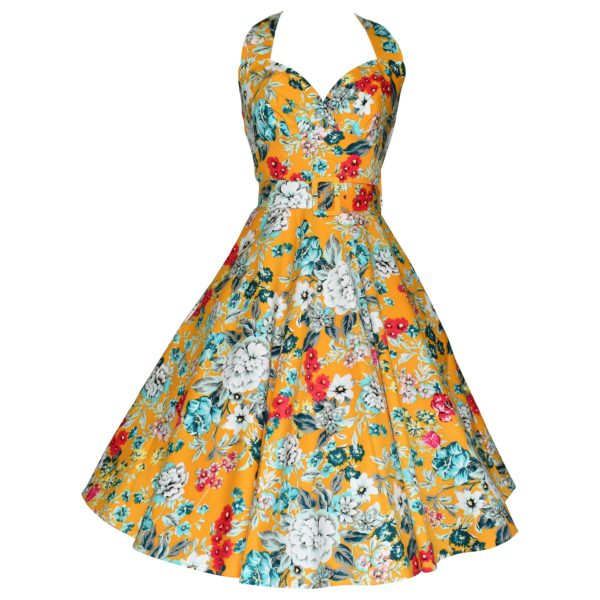 Vintage style yellow floral halter neck swing dress
