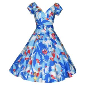 Vintage style blue swing dress with cap sleeves