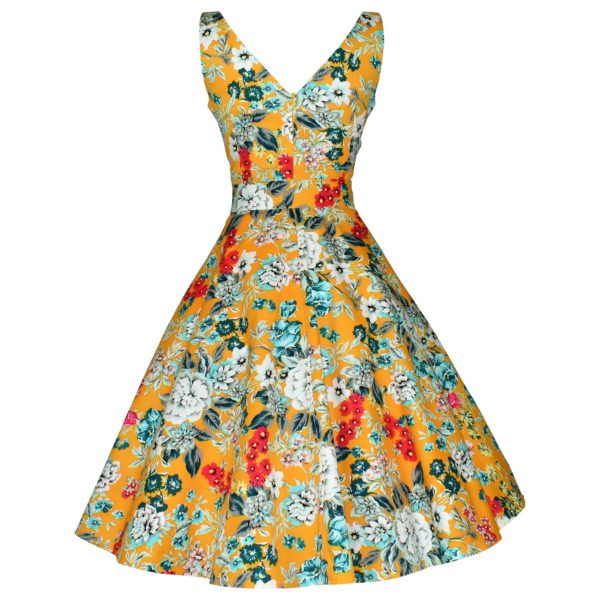 Vintage style yellow floral swing dress back view