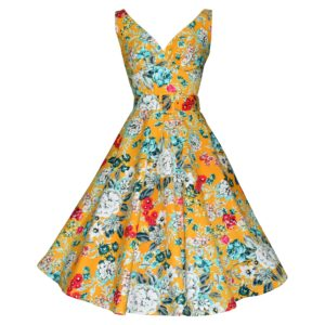 Vintage style yellow floral swing dress