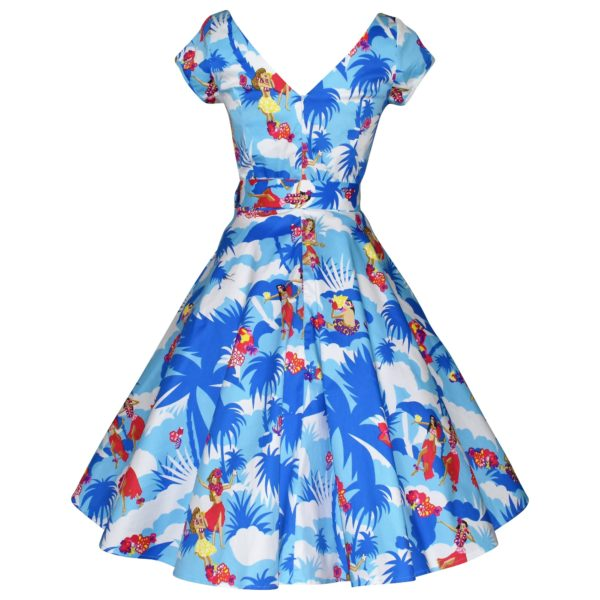 Vintage style blue swing dress with cap sleeves back view