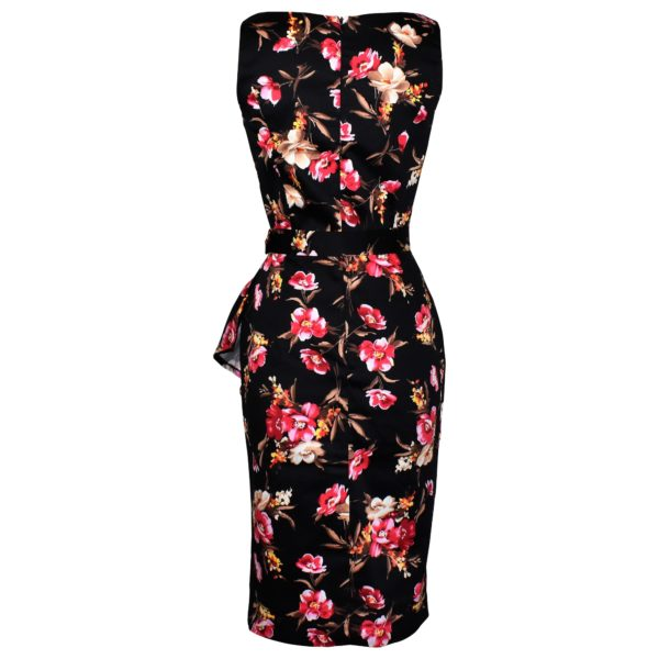 Vintage style black floral wiggle dress back view