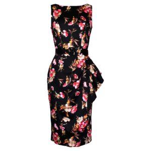 Vintage style black floral wiggle dress