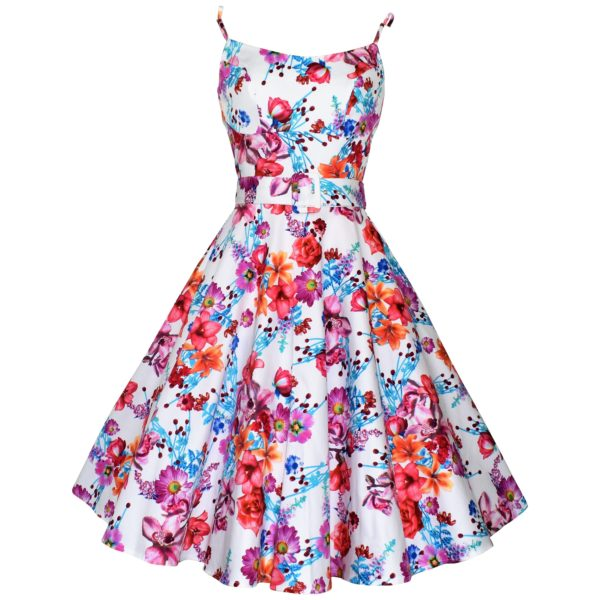 Vintage style white floral swing sun dress