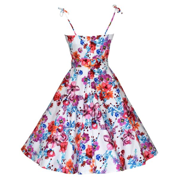 Vintage style white floral swing sun dress back view