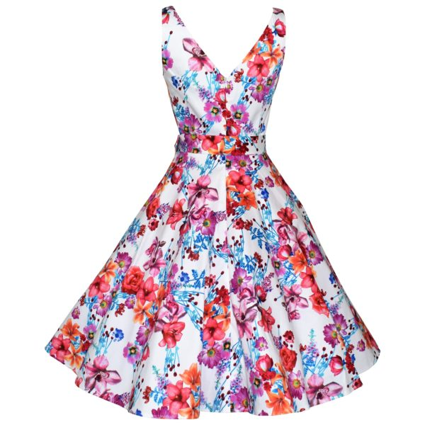 Vintage style white floral swing dress back view