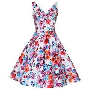 Vintage style white floral swing dress