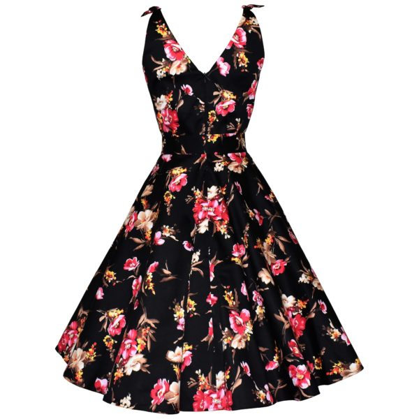 Vintage style black floral swing sun dress back view