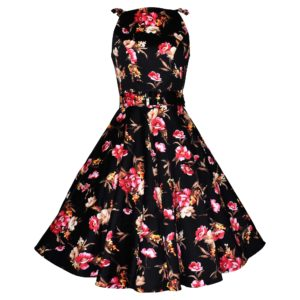 Vintage style black floral swing sun dress
