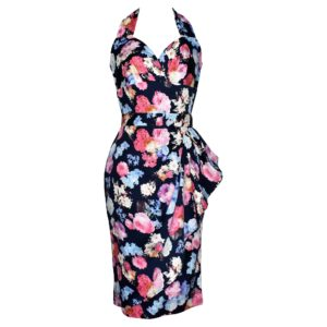 Vintage style halter wiggle dress with sarong skirt in navy floral fabric