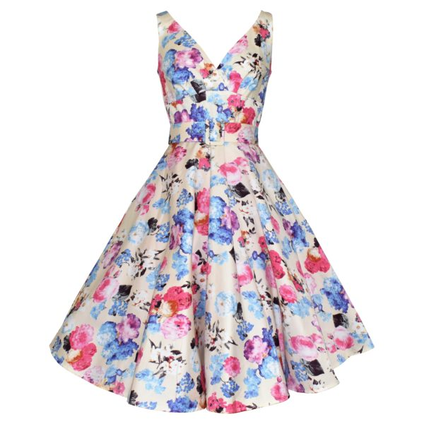 Vintage style swing dress with crossover bodice in cream floral fabric