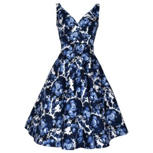 vintage style swing dress with crossover bodice in china blue floral fabric