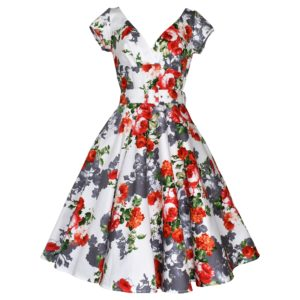 Vintage style swing dress with crossover bodice and cap sleeves in red rose design fabric