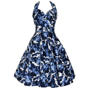 Vintage style halter neck swing dress in China Blue floral print fabric