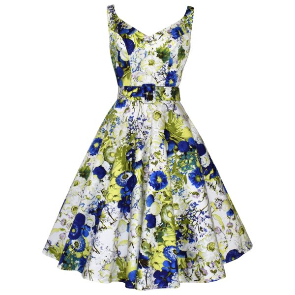 Vintage v-neck Swing Dress in Cornflower blue and lime floral print fabric