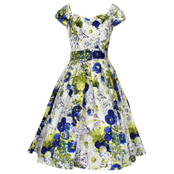 Vintage style sweetheart dress in cornflower blue and lime green floral fabric