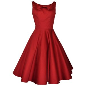 Fifties vintage style dress with full skirt and scoop-neckline with large decorative bow