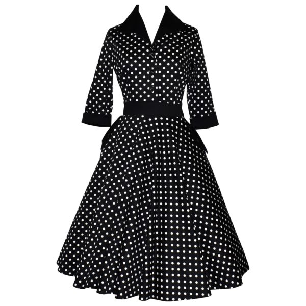 Vintage style polka dot shirtdress with swing skirt and 3/4 sleeves