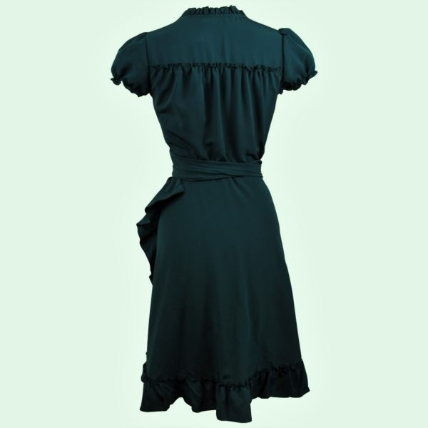Siren Clothing 40's vintage-inspired wrap dress with frilled hem in plain deep evergreen fabric, back view