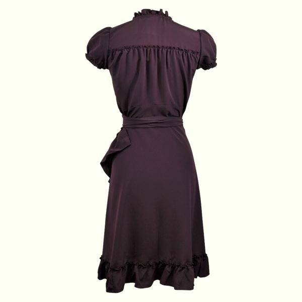 Siren Clothing 40's vintage-inspired wrap dress with frilled hem in plain deep plum fabric, back view