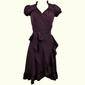 Vintage style wrap dress with frilled hem in plain deep plum