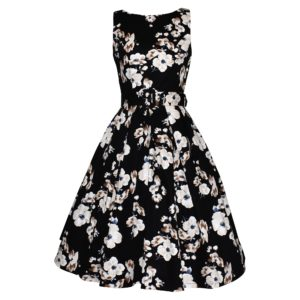 Vintage style boat necked dress with full pleated skirt iinn white and beige floral design on black background