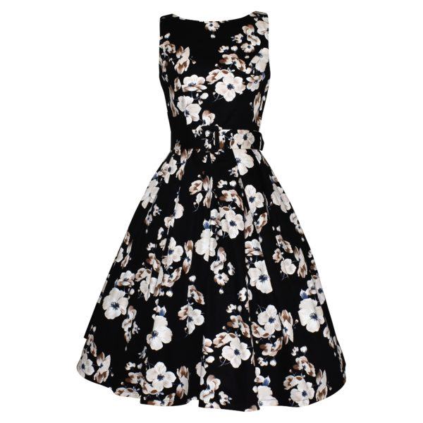 Siren Clothing 50's vintage-inspired boat necked dress with full pleated skirt iinn white and beige floral design on black background