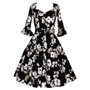 Vintage style swing dress with fluted sleeves in white and beige floral print on a black background
