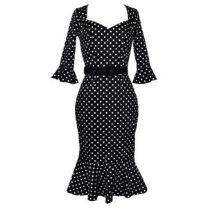 Vintage style wiggle dress with fluted sleeve and skirt