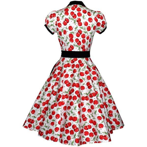 Siren Clothing 50's vintage inspired shirt dress with full swing skirt in red cherry print on white background. back view
